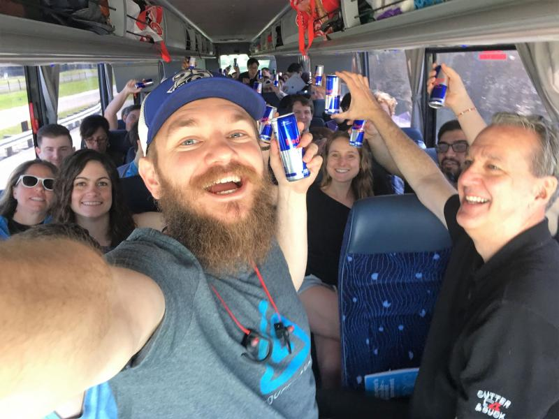 Robert Blacklidge on a bus full of Startup Bus hackers