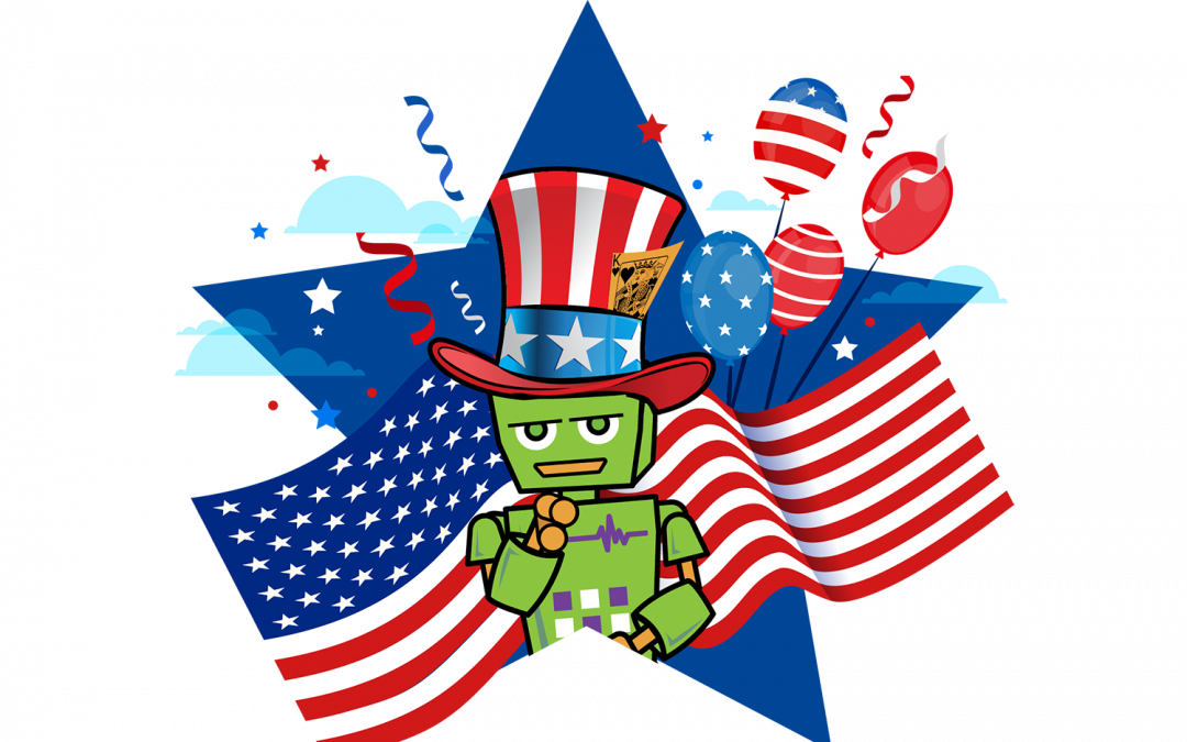 "Mad Botter Fourth of July content icon (Mad Botter ""Bot"" dressed as Uncle Sam in front of American flags, fireworks, and balloons)"
