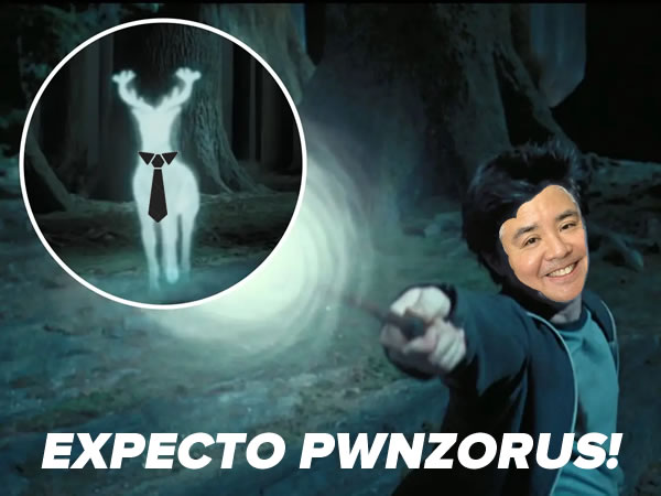 "Photo: Harry Potter pointing his wand at his patronus, except Harry's face has been crudely photoshopped with Joey deVilla's, the patronus is wearing a tie, and the caption reads ""EXPECTO PWNZORUS!"""