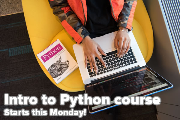 "Photo: Man's hand on Mac laptop, with Python book on the side. Caption: ""Intro to Python course / Starts this Monday!"""