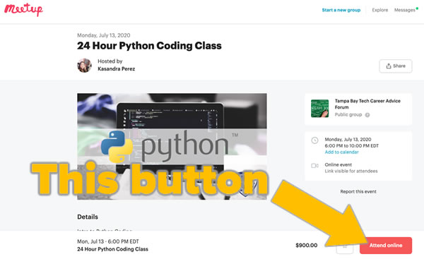 "Screenshot: The Meetup page for the Python course, with the ""Attend online"" button highlighted."