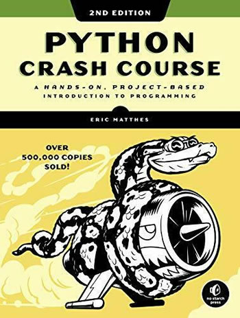 "Book cover: ""Python Crash Course, 2nd edition: A Hands-On, Project-Based Introduction to Programming"""