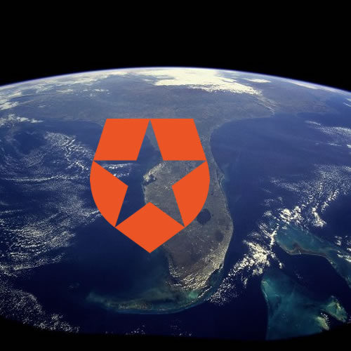 Photo: Satellite photo of Florida, with the Auth0 logo over Tampa Bay.