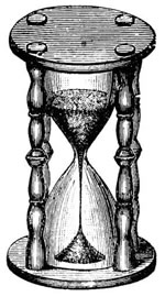 Illustration: Woodcut of an hourglass.