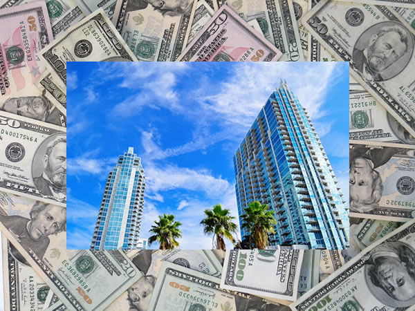 Photo: Tampa Bay scenery superimposed over a big pile of money