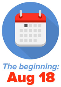 "Icon: Calendar. ""The beginning —August 18"""
