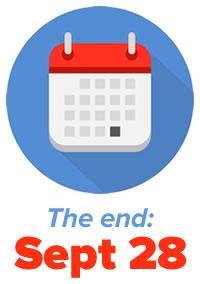 """Icon: Calendar —""""The end: September 28"""""""