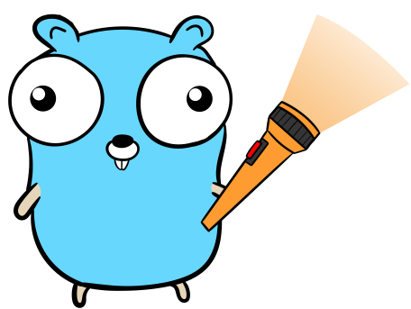 The Go (golang) gopher holding a flashlight