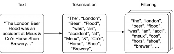 Flow diagram showing text tokenization