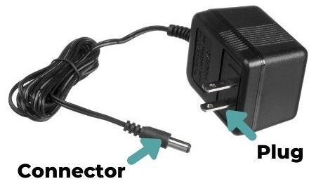 Photo of a power adapter, with arrows pointing out the connector and plug.