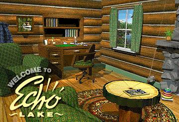 "Opening screen of ""Welcome to Echo Lake"", a multimedia promo for Delrina's ""Echo Lake"" family album application."