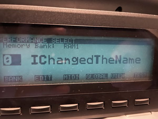 "LCD display of Korg Wavestation A/D displaying the name of the currently selected sound with its updated name: ""IChangedTheName""."