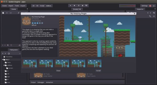 2D game being designed in the Godot  IDE.